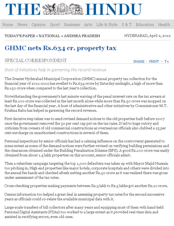 GHMC property tax Collection with Visiontek POS Terminals